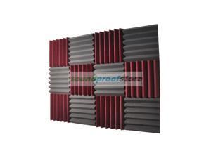 2x12x12-12PK BURGUNDY/CHARCOAL Acoustic Wedge Soundproof Studio Foam