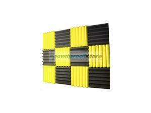 2x12x12-12PK YELLOW/CHARCOAL Acoustic Wedge Soundproofing Studio Foam