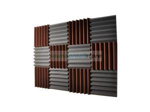 2x12x12-12PK BROWN/CHARCOAL Acoustic Wedge Soundproofing Studio Foam