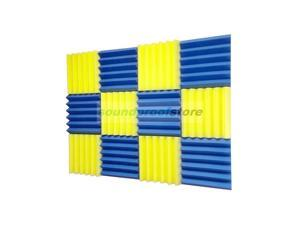 2x12x12-12PK YELLOW/BLUE Acoustic Wedge Soundproofing Studio Foam
