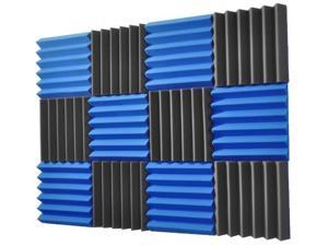 2x12x12-12PK BLUE/CHARCOAL Acoustic Wedge Soundproofing Studio Foam
