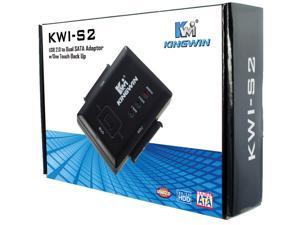 "Kingwin KWI-S2 USB 2.0 to Dual SATA adapter One Touch Back Up Connect to Dual 2.5"" or 3.5"" SATA Hard Drive to USB 2.0 Support all SATA types of drives. SATA II & USB 2.0 compatible"