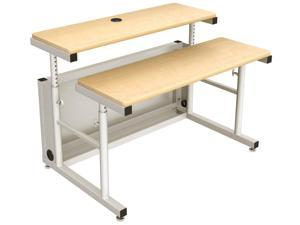 Versa Tables Split Level Height Adjustable Computer Table, Ergonomic Sit to Stand Standing Desk with Two Independently Adjustable Surfaces- 48 x 35, Gray Frame, Maple Surface