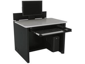 Versa Tables Elevation Desk, Single-User Classroom Table with Electronic Monitor Lift Mechanism, CPU Holder and Retractable Keyboard Drawer - 48 x 30, Black Frame, Gray Surface
