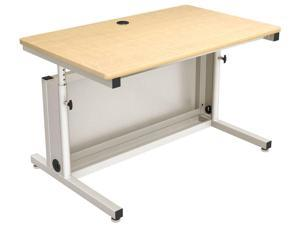 Versa Tables Height Adjustable Computer Table - 48 x 30, Gray Frame, Maple Surface