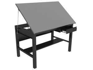 Versa Tables Vision Drafting Table, 65 Degree Tilting Art Drawing Work Surface with Locking Drawer - 60 x 36, Black Frame, Gray Surface