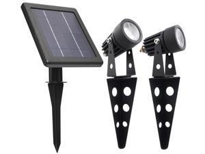 Mini 50X Twin Solar-Powered Cast Aluminum Warm White LED Spot Light 60 Lumen Per Light Fixture for Outdoor Garden Yard Landscape Downlight