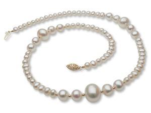 The Pearl Outlet Stylish Pearl Necklace with 14k Gold Enhancers