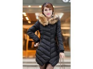 New Fashion Winter Women Down Cotton Coat Long Slim Fur Collar Hooded Coat Jacket