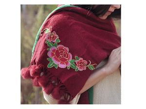 Spring Festival's Gift Literary Cashmere National Style Embroidery Scarf Cotton and Linen Autumn Winter New Embroidery Wrap Scarf   wine red