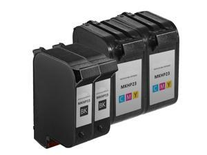 InkTonerBox Remanufactured Ink Cartridge For HP15 C6615DN & HP23 C1823D (2 Black 2 Tri-Color) Compatible with Color Copier R40 R60 R80 T45 T45xi T46 T65 T65xi Printer