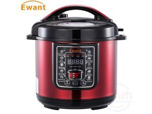 Ewant Stainless Steel Multifunctional Electric Pressure Cooker, Super Safe & Reliable Programmable Pressure Cooker with 3 Level Pressure Setting, 6 QT, Red