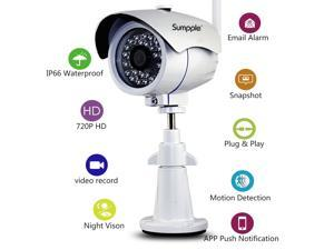 Sumpple S361 Outdoor Wireless/Wired HD P2P Network Day/Night Vision IP Camera White