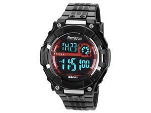 Armitron Men 8243RED Black Resin Stainless Steel Bezel Watch