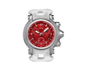 Oakley 10-089 Silver Analog Watch With Red Dial