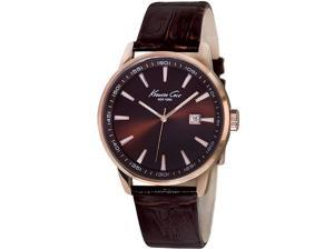 Kenneth Cole Men's Brown Analog Leather Quartz Watch KC1911 New In Box