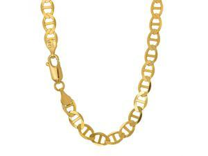 JewelStop 10k Solid Yellow Gold 3.2 mm Mariner Chain Necklace, Lobster Claw Clasp - 16""