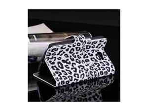 Moonmini Case for Note 2 N7100, Leopard Cheetah Pattern PU Leather Wallet Pouch Cover Case with Stand Function and Card Slots for Samsung Galaxy Note 2 N7100 - White