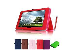 Moonmini Case for Asus Memo Pad 8 ME180A + Free Stylus (Red) PU Leather Folding Flip Folio Case Cover with Stand Function and Stylus Holder