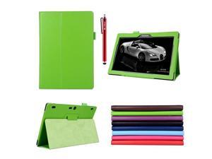 Moonmini Lenovo Tab 2 A10-70 PU Leather Flip Folio Smart Case Cover with Stand Function and Pen Holder (Green)