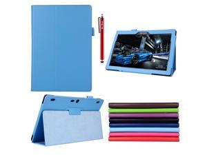 Moonmini Lenovo Tab 2 A10-70 PU Leather Flip Folio Smart Case Cover with Stand Function and Pen Holder (Sky Blue)