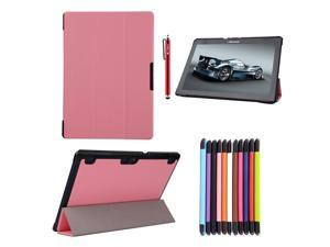 Moonmini Lenovo Tab 2 A10-70 PU Leather Flip Folio Smart Case Cover with Stand Function and Magnetic Closure (Pink)