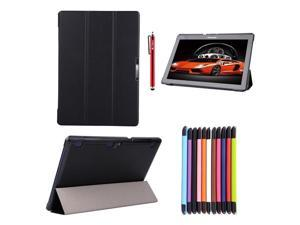 Moonmini Lenovo Tab 2 A10-70 PU Leather Flip Folio Smart Case Cover with Stand Function and Magnetic Closure (Black)