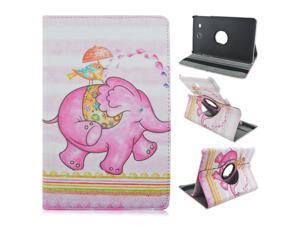 Samsung Galaxy Tab E 9.6 inch SM-T560 (Not Fit Verizon 4G LTE Version) Elephant Pattern PU Leather Case 360 Degrees Rotating Flip Stand Cover Protector (Pattern 5)
