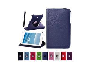 Moonmini case for Asus MeMO Pad 7 ME176C/CX Tablet Book Cover with Free Screen Flim + Stylus Pen - Navy Blue 360 Degree Rotation PU Leather Smart Cover Protective Case Cover Pouch