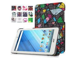 Moonmini Case for Acer Iconia One 8 B1-850 PU Leather Tablet Case Flip Cover Protector with Stand Function (Irregular Squares)