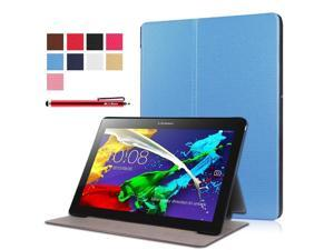 Moonmini Case for Lenovo Tab 2 A10-30F PU Leather Folding Flip Case Cover Protector with Stand Function (Sky Blue)