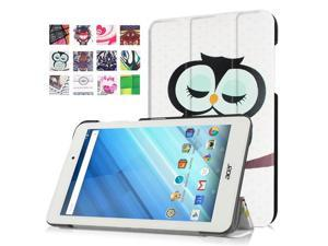 Moonmini Case for Acer Iconia One 8 B1-850 PU Leather Tablet Case Flip Cover Protector with Stand Function (Owl)