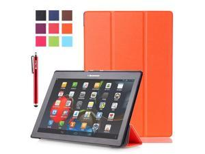 Moonmini Case for Lenovo Tab 2 A10-70/A10-30/X30F PU Leather Flip Stand Case Cover Protector with Auto Sleep / Wake Function (Orange)