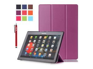 Moonmini Case for Lenovo Tab 2 A10-70/A10-30/X30F PU Leather Flip Stand Case Cover Protector with Auto Sleep / Wake Function (Purple)