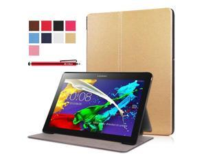 Moonmini Case for Lenovo Tab 2 A10-30F PU Leather Folding Flip Case Cover Protector with Stand Function (Golden)