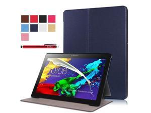 Moonmini Case for Lenovo Tab 2 A10-30F PU Leather Folding Flip Case Cover Protector with Stand Function (Dark Blue)
