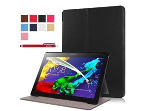 Moonmini Case for Lenovo Tab 2 A10-30F PU Leather Folding Flip Case Cover Protector with Stand Function (Black)