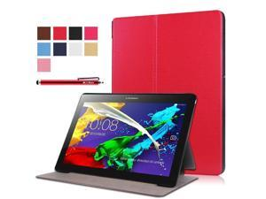 Moonmini Case for Lenovo Tab 2 A10-30F PU Leather Folding Flip Case Cover Protector with Stand Function (Red)