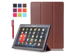 Moonmini Case for Lenovo Tab 2 A10-70/A10-30/X30F PU Leather Flip Stand Case Cover Protector with Auto Sleep / Wake Function (Brown)