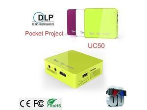 Original UNIC UC50 Handheld Micro DLP Mini Projector 800 lumens Full HD 1080P Home Theater projecting Built-in with USB SD AV HDMI-(Green)