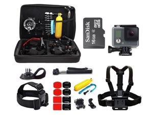 GoPro HD Hero Waterproof Action Camera Camcorder with 16GB MicroSd Card + 23-IN-1 Accessory Kit Full Bundle includes Selfie Stick + Floating Bobber + Chest Mount + Tripod + Carrying Case