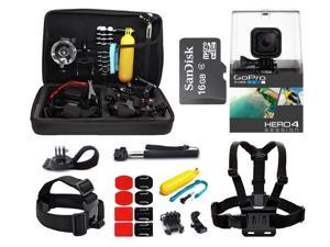 GoPro Hero4 Session HD Waterproof Camera Camcorder with 16GB MicroSD Card + 23-IN-1 Accessory Kit Full Bundle includes Selfie Stick + Floating Bobber + Chest Mount + Tripod + Carrying Case