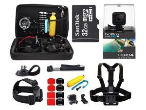 GoPro Hero4 Session HD Waterproof Camera Camcorder with 32GB MicroSD Card + 23-IN-1 Accessory Kit Full Bundle includes Selfie Stick + Floating Bobber + Chest Mount + Tripod + Carrying Case