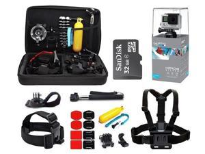 GoPro Hero4 Silver Edition HD Waterproof Camera Camcorder with 32GB MicroSD Card + 23-IN-1 Accessory Kit Full Bundle includes Selfie Stick + Floating Bobber + Chest Mount + Tripod + Carrying Case