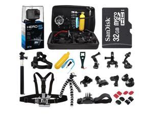 GoPro Hero5 Black 4K Edition HD Waterproof Camera Camcorder with 32GB MicroSD Card + 30-IN-1 Accessory Kit Full Bundle includes Selfie Stick + Floating Bobber + Chest Mount + Tripod + Carrying Case