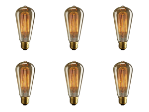 ST64 240V 40W Retro Edison Filament Fits : E26 / E27 - Warm white Antique Light Bulb Nostalgic Vintage - 6 Pack