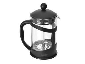 Contemporary Heat-Resistant Borosilicate Glass and Metal Coffee and Tea Plunger with Stay-Cool Handle