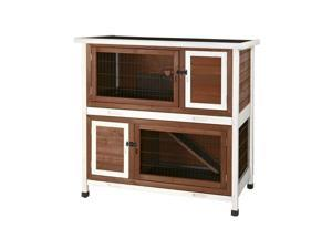 2-Story Rabbit Hutch with Retreat on Upper Level and Hatch Door Brown/White