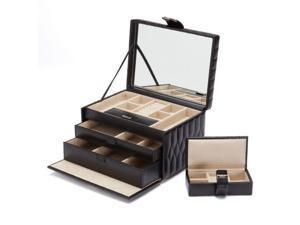 Caroline Jewelry Box with 2 Storage Compartments by Wolf Black