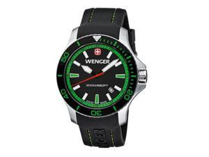 Wenger Men's Sea Force Watch with Silicone Bracelet Green 43 Millimeter